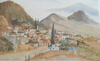 Vintage Watercolour Print 'Ay Ioannis Cyprus' Signed Johnathon Thompson  Wrapped