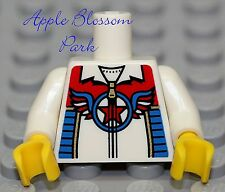 NEW Lego Boy/Girl WHITE MINIFIG TORSO w/Star Red Blue USA Zipper Jacket Pattern