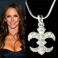 w Swarovski Crystal France Paris AB Fleur de lys lis Iris Charm Pendant Necklace