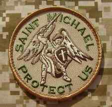 SAINT MICHAEL PROTECT US ARMY MILITARY BADGE DESERT VELCRO® BRAND FASTENER PATCH