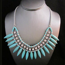 NEW Masino Collection Turquoise Tooth Bead Rhinestone Gemmed Necklace