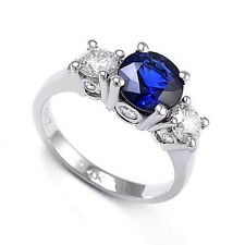 Ceylon Sapphire Diamond Three Stone Lucida Ring 14k W/G #R553
