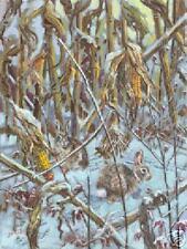 Rabbits Feeding Corn Field Winter Snow Lowell Davis