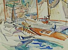 Signiert Gross ? datiert 25 - Segelboote in einem Hafen mit Stadt
