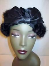 Antique Vintage 20s MINK FUR Striped Reddish Brown BLACK SATIN BOW Cloche Hat