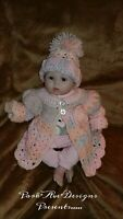 Handmade Crochet Sweater and Hat Baby girl Newborn Reborn 0-3 mon pink grey