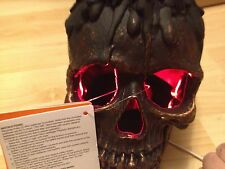 ANIMATED  LIGHT UP RED EYES SKULL FLICKER FLAME CANDLE Haunted Prop Candelabra