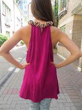 pink/silk/cashmere /beaded/ sleeveless dress/ blouse,US 12/UK14/MAGASCHONI