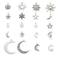 100pcs/Set Antique Silver Tibetan Star & Moon & Sun Pendant DIY Jewelry Charms
