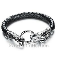 FAMA 22cm Black Braided Leather Bracelet w/ 316L Stainless Steel Casted Dragon