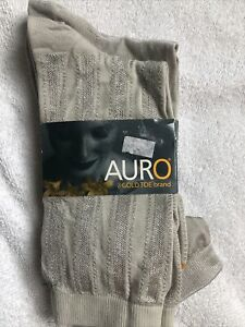 AURO GOLD TOE  TROUSER SOCKS (2 Pairs) Stone NWT SIZE MEDIUM. Shoe Size 6-11