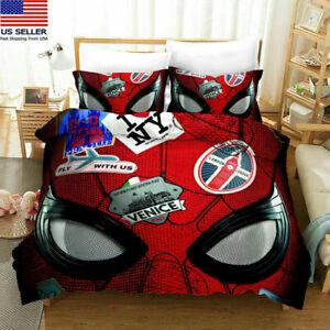 USA Spiderman Bedding Set 3PCS Comforter Cover Duvet Cover Pillowcases Fan Gifts