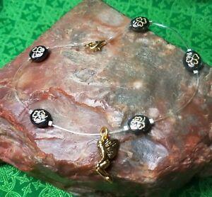 IRISH Shamrock Celtic FAIRY Floating  Illusion ANKLET Gold plate hematite-look