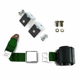 2pt Dark Green Retractable Airplane Buckle Lap Seat Belt w/ Anchor Hardware