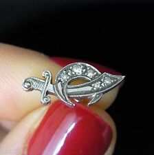 Antique Diamond Platinum Tie Tack Masonic Shriner Moon Dagger Pin Art Deco 1920s