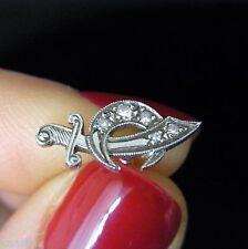 Antique Deco Masonic Shriner Freemason Platinum Diamond Tie Pin Tack Moon Dagger