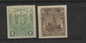 EL SALVADOR 1896 SC 157B & 157F PROOFS ISSUED UNGUMMED OG IMPERFORATED