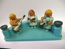 Vintage German Erzgebirge Painted Wood Figurine 3-Girl Musical Trio - Rg