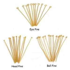 50 Pcs Gold Plated EYE/ HEAD/ BALL PINS Findings 16 18 20 22 28 30 32 35 -50mm