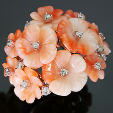 Stunning Natural Carved Pink Coral Diamond Articulated Flower 18k WG Ring