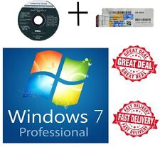 Windows 7 Pro Professional 64Bit DVD - 1 COA License Key