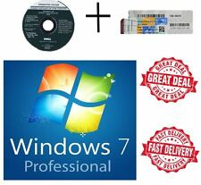 Windows 7 Pro Professional 64Bit DVD - 1 COA License Key