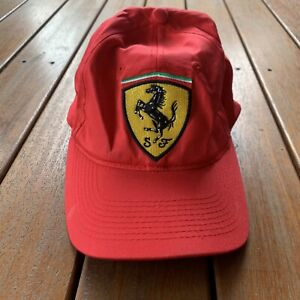 Vintage 90s Red Ferrari Snap Back Cap One Size Fits All Vintage Retro Logo