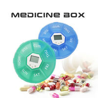 7 Days Digital Round 7 Days Pill Box Medicine Case Timer Alarm Clock Reminder