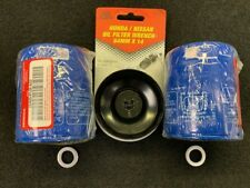 TWO NEW GENUINE HONDA 15400-PLM-A02 OIL FILTERS W/ DRAIN PLUG GASKET AND WRENCH