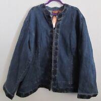 Liz & Me Signature NWT Jean Jacket Plus 5X Blue Stretch Denim w Gems Long Sleeve