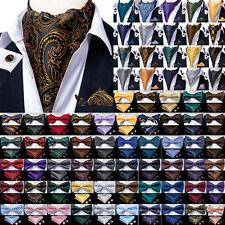 150 Color Mens Silk Bowtie Ascot Cravat Set Self Pretied Bow Tie Hanky Cufflinks