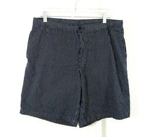 mens black white LANDS END shorts stripe 100% cotton drawstring waist 32 34 M
