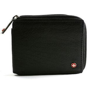 Alpine Swiss Men's Leather Zip Around Wallet ID Card Window Secure Zipper Bifold