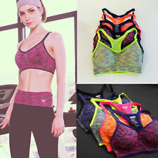 Women Workout Tank Tops Yoga Fitness Seamless Racerback Sport Bra Padded Stretch