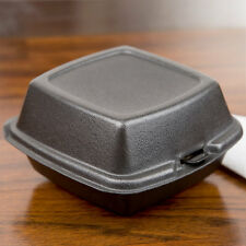 """(500-Pack) 6"""" x 6"""" x 3"""" Black Foam Hinged Lid Take Out Containers"""