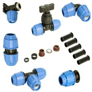 MDPE Plastic Compression Fittings 25mm FLOPLAST Water Pipe WRAS Approved