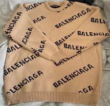 Balenciaga All over logo Knit Sweater Jumper Medium Brown Wool