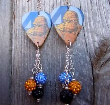 Fantastic 4 The Thing Guitar Pick Earrings with Pave Bead Dangles