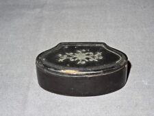 Antique 19th Century Black Lacquered Inlaid Papier Mache Snuff Box