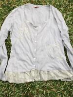 Joe Browns Blouse size 14 shirt top cotton lace VGC Grey Cl1
