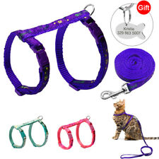 Personalized Cat Harness and Leash set with Custom Pet Tags Soft for Kitten Walk