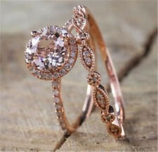 2Pcs/Set 925 Silver Ring 18K Rose Gold Filled White Topaz Wedding Prom Size 6-10