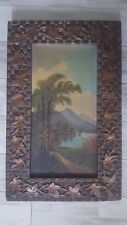 Antique 19th Century Arts & Crafts Woven Oil Painting Frame Applied Leaves
