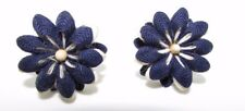 Antique Handmade Cloth (Rick Rack) Navy & White Screwback Earrings Very Good!