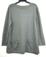 J Jill Womens Grey Crew Neck Pullover Wool Split Hem Sweater Long Sleeve Sz L