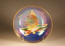 Crown Devon Fielding Art Deco Royal George Galleon Blue Lustre Bowl, England