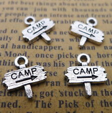 20pcs Charms Word Camp Guidepost Tibetan Silver Beads Pendant DIY 12*13mm