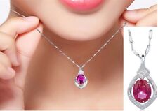 Sterling Silver Red Gemstone Cubic Zirconia Heart Pendant Necklace Chain Gift A6