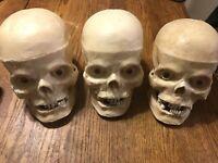 Vintage Life Like Light Up Halloween Skull Decoration