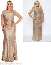 Gemma Collins Style Gold/champagne Sequin Square Long Evening Dress Gown Towie UK 20